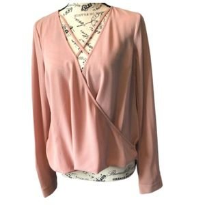 Forever 21 Light Pink Plunging Surplice Blouse